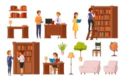 Library Flat Orthogonal Icons Royalty Free Stock Images