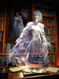 Library ghost. Interior of an old library. At the wall, a painting of a woman whom ghost floats over furniture vector illustration