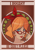 Library girl. Image of an art deco style beautiful librarian girl Stock Photography
