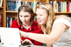 Library - Girls on Computer Stock Image