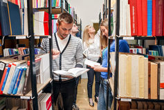 Library. Group students: revising in library Stock Images