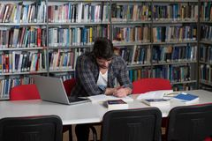 Student Studying at College Stock Photo