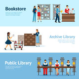 Library Horizontal Banners Set Stock Images