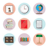 Library icons. It consists of a globe portrait of Holmes, a number of books, clocks, shelves, dressers and more. Objects made into flat with shadow. Background Stock Photo