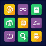 Library Icons Flat Design Stock Images