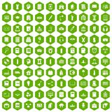 100 library icons hexagon green. 100 library icons set in green hexagon isolated vector illustration Stock Photos