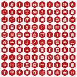 100 library icons hexagon red. 100 library icons set in red hexagon isolated vector illustration Stock Images