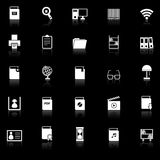 Library icons with reflect on black background Royalty Free Stock Image