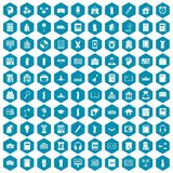 100 library icons sapphirine violet. 100 library icons set in sapphirine hexagon isolated vector illustration vector illustration
