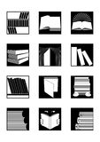 Library icons set in black. Set of twelve square black and white icons on books or library topic royalty free illustration