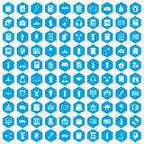 100 library icons set blue. 100 library icons set in blue hexagon isolated vector illustration royalty free illustration