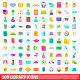 100 library icons set, cartoon style Royalty Free Stock Photo