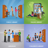 Library Icons Set. Library concept icons set with public and online library symbols flat isolated vector illustration vector illustration