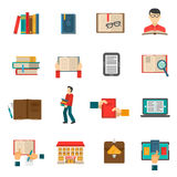 Library Icons Set Stock Photo