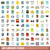 100 library icons set, flat style Royalty Free Stock Images