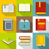 Library icons set, flat style Stock Photos