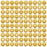 100 library icons set gold. 100 library icons set in gold circle isolated on white vectr illustration Royalty Free Illustration