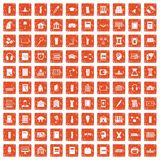 100 library icons set grunge orange. 100 library icons set in grunge style orange color isolated on white background vector illustration royalty free illustration
