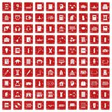 100 library icons set grunge red. 100 library icons set in grunge style red color isolated on white background vector illustration Vector Illustration
