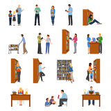 Library Icons Set. With people and books flat isolated vector illustration stock illustration