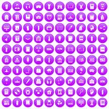100 library icons set purple. 100 library icons set in purple circle isolated vector illustration vector illustration