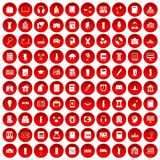 100 library icons set red. 100 library icons set in red circle isolated on white vectr illustration Royalty Free Illustration