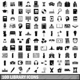 100 library icons set, simple style Royalty Free Stock Photos