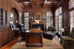 Library In Luxury Home Stock Images
