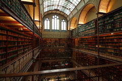 Library interior in Amsterdam. Large library in the Rijksmuseum. An industrial looking structure with 4 levels Stock Photo