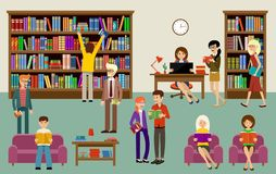 Library interior with people and book shelves. Education Royalty Free Stock Image