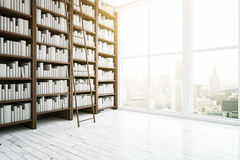 Library interior. Side view of library interior with wooden bookshelves, light floor, ladder, window with city view and daylight. 3D Rendering royalty free stock images