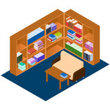 Library isometric. Comfortable place for reading books. Stock Image