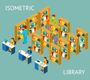 Library in isometric flat style. People among Stock Images