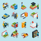 Library Isometric Icons Set Royalty Free Stock Photography