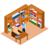 Library isometric. Man reading a book. Comfortable place for rea Stock Photo
