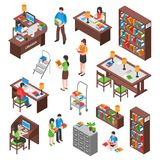 Library Isometric Set. With employee visitors workplaces bookcases and filing cabinet desks for reading isolated vector illustration stock illustration