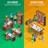 Library Isometric Vertical Banners. Isometric vertical banners with city library and reading room on green and yellow background isolated vector illustration vector illustration