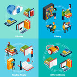 Library Isometric 2x2 Compositions Stock Photo