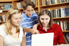 Library Kids on Computer Stock Photo