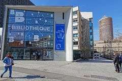 Library in La Part Dieu district. LYON, FRANCE, March 22, 2018 : City library in La Part-Dieu. The district is the central business district of Lyon and the Stock Photography