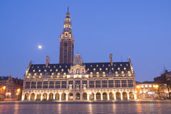 Library In Leuven At night With Full Moon Stock Image