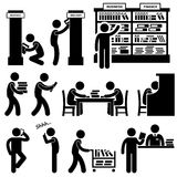 Library Librarian Bookstore Student Pictogram. A set of pictograms representing a library scene with librarians and people stock illustration