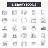 Library line icons for web and mobile design. Editable stroke signs. Library  outline concept illustrations vector illustration