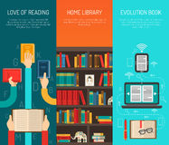 LIbrary Long Hands Flat Bannes Set Stock Photo