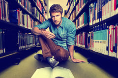 Library. Man sitting in the Library Royalty Free Stock Photography