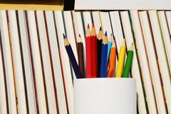 Library management, pencils and books Stock Images