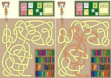 Library maze. For kids with a solution stock illustration
