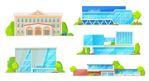 Library modern buildings isolated facade exteriors. Public library buildings isolated establishments. Vector facades of modern and retro library houses royalty free illustration