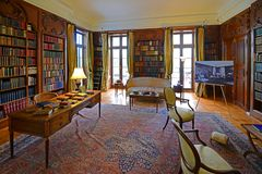 The Mount in Lenox, Massachusetts, USA. Library in The Mount. This building was built in 1902 as the country house for Edith Wharton in town of Lenox in the Stock Photos