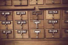 Library. New Library Card Catalog for Search Books Stock Photo
